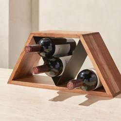 CRATE & BARREL - Organizador de 9 Botellas de Vino Materiales Mixtos Jasper