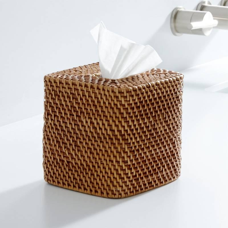 CRATE & BARREL - Caja para Pañuelos de Papel Sedona Cuadrada Miel