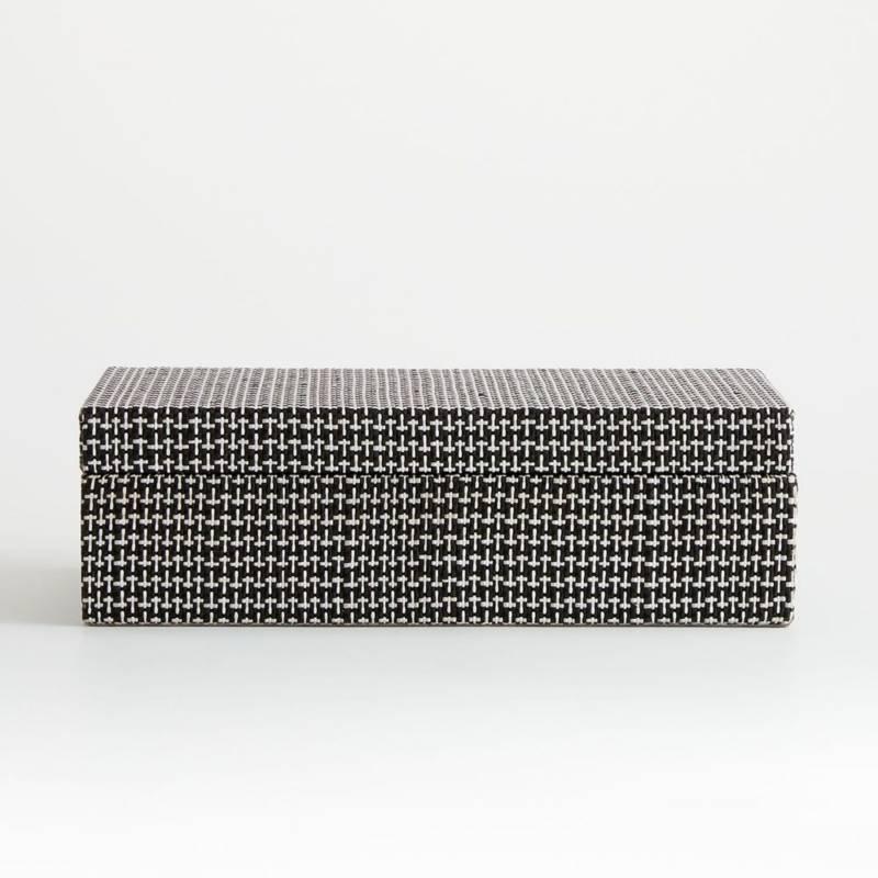 CRATE & BARREL - Caja Tejida Jolie Blanco/Negro Grande