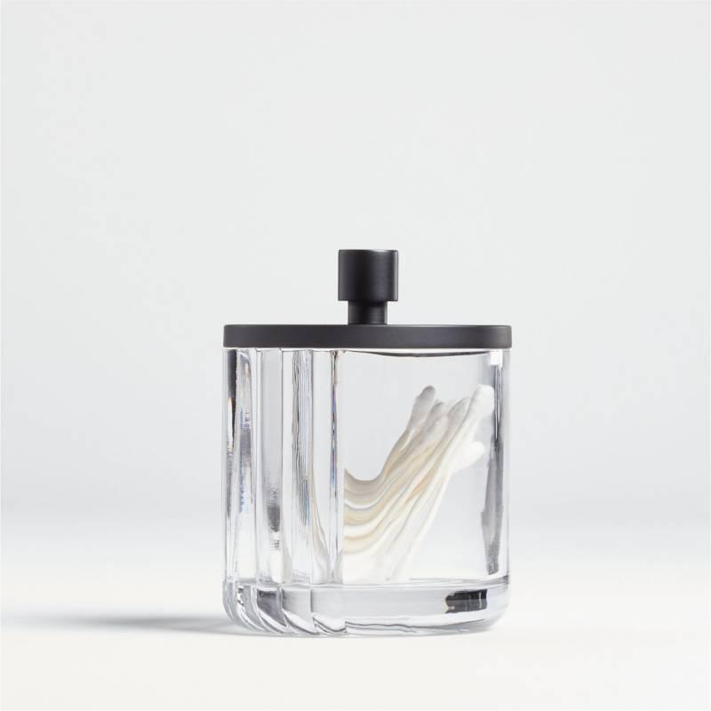 CRATE & BARREL - Frasco de Baño de Vidrio Acanalado Pequeño