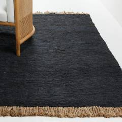 CRATE & BARREL - Alfombra Yuma Jute Fring Negro 244x305cm