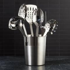 CRATE & BARREL - Contenedor de Utensilios de Cocina de Acero Inoxidable