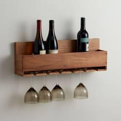 CRATE & BARREL - Soporte de Pared para Botellas y Copas de Vino