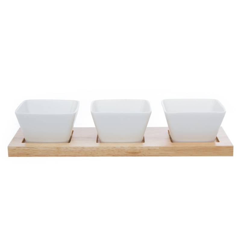 MICA - Tabla Rectangular + 3 Bowls