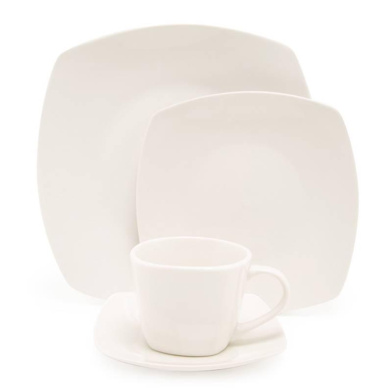 MICA - Juego de Vajilla 20 Piezas Porcelana Basic Cuad