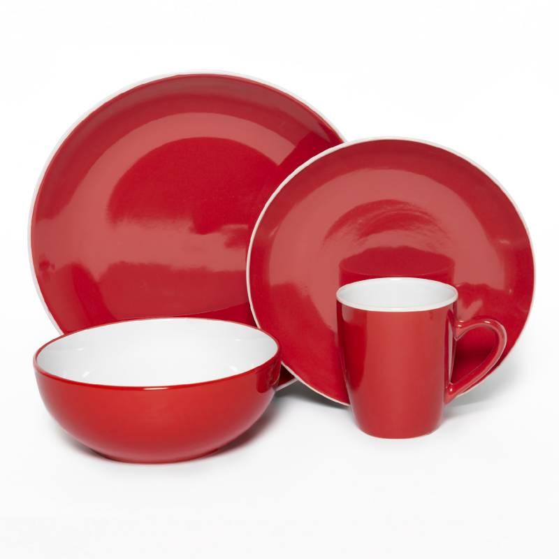 MICA - Juego de Vajilla 16 Piezas Rojo