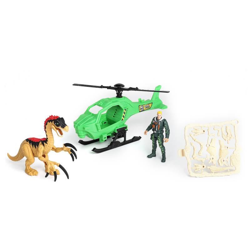 DINO VALLEY - Set Dinosaurio Con Helicóptero