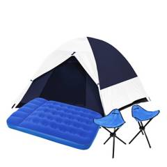 MOUNTAIN GEAR - Combo Top Carpa para 2 Personas + Colchón + Bancos Plegables