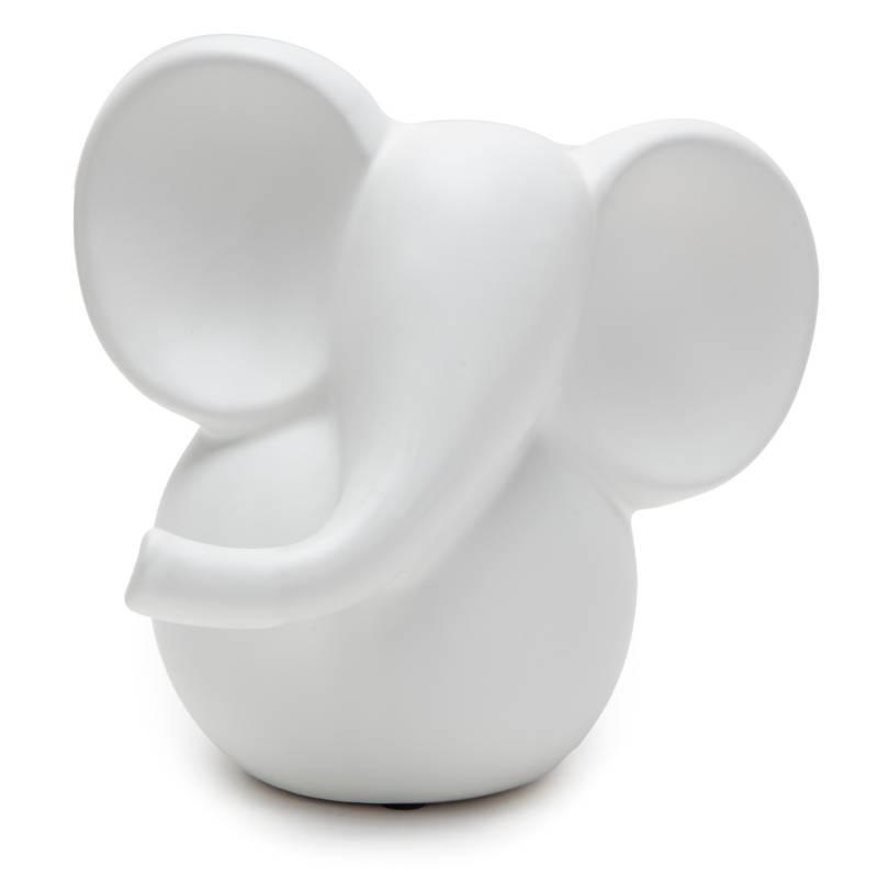 MICA - Elefante Ceramica Blanco 18x17cm