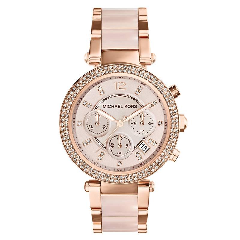 MICHAEL KORS - Reloj Dama, extensible plástico y carátula oro rosado - Análogo cronómetro