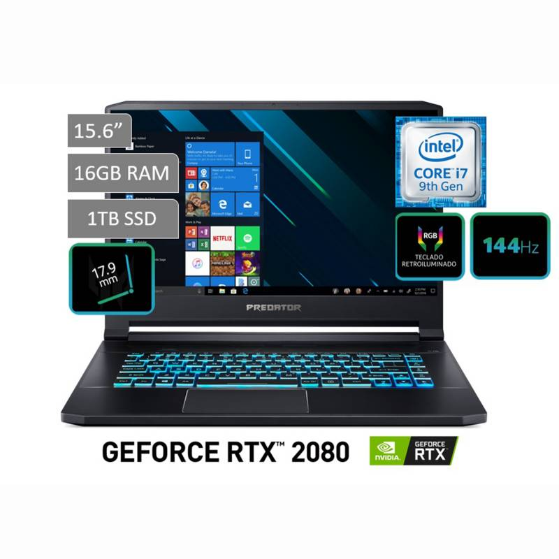 "ACER - Laptop Gamer Predator 15.6"" Core i7 9750H 16GB RAM 1TB SSD + 8GB Video Nvidia RTX 2080 - Pantalla 144HZ"