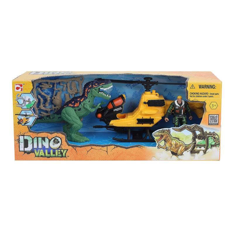 DINO VALLEY - Set de Juguetes Dinosaurio con Helicoptero