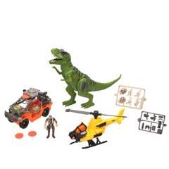 DINO VALLEY - Set de Juguetes Dinosaurio con Helicoptero Y Carro