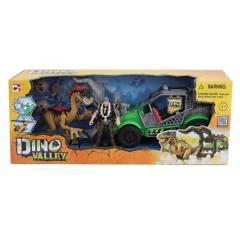 DINO VALLEY - Set de Juguetes Dinosaurio con Carro Verde