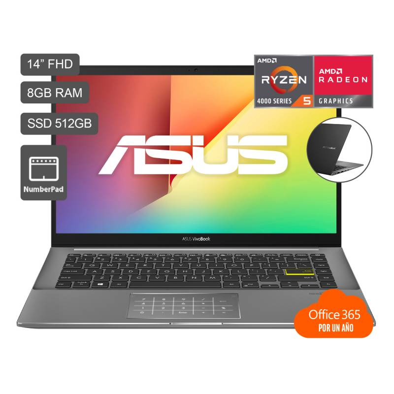 "ASUS - Laptop VivoBook M433 14"" Ryzen5 4500U 8GB RAM 512GB SSD + Microsoft Office 365 Gratis por 1 año (preinstalado) - Full HD"