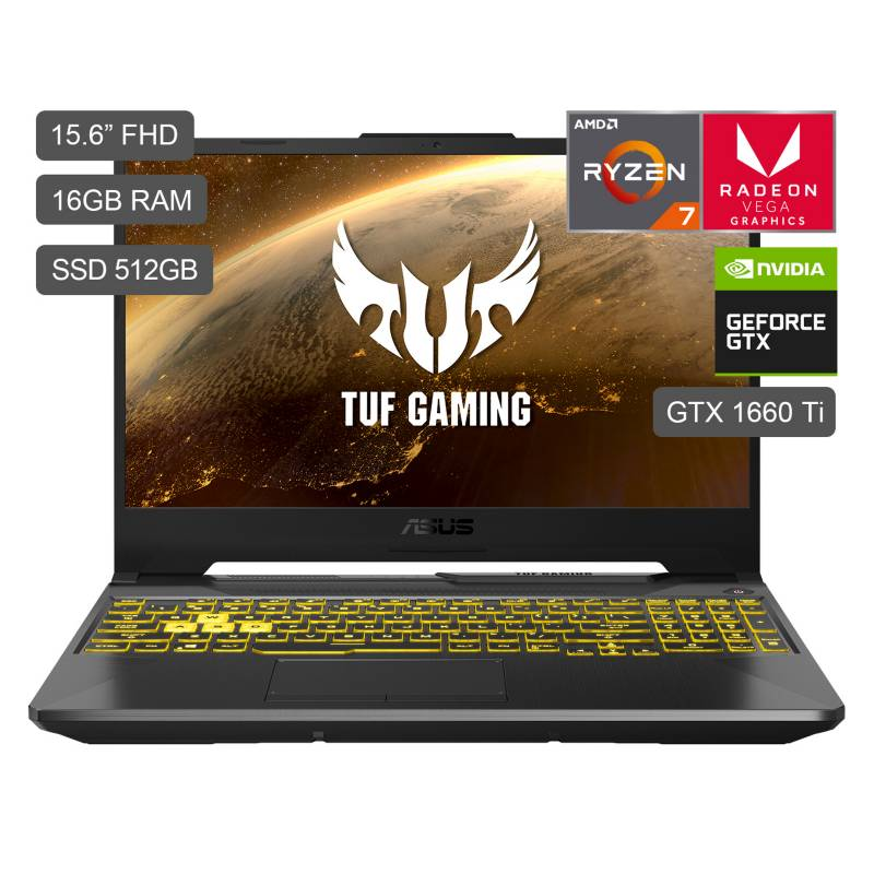 "ASUS - Laptop Gamer TUF A15 15.6"" FX506IU R7-4800HS 512GB SDD 16GB RAM + 6GB Video Nvidia GTX1660Ti"