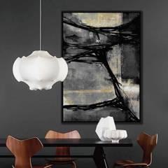 BASEMENT HOME - Cuadro Negro Con Gris 100X140Cm