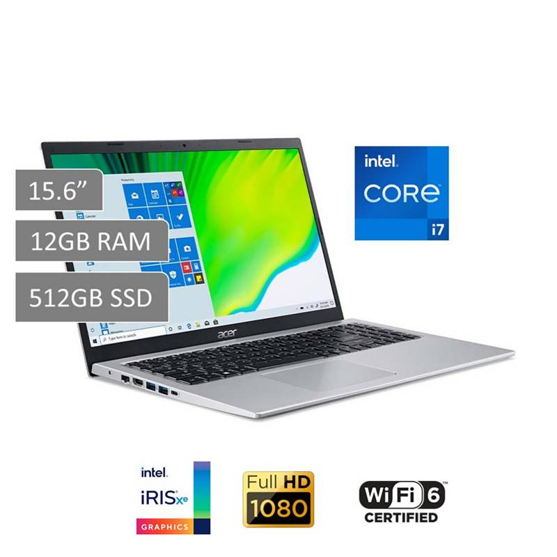 "ACER - Laptop Acer Aspire 5 15.6"" Core i7 11va Gen 12GB RAM 512GB SSD - Graficos Iris Xe - WiFi 6"