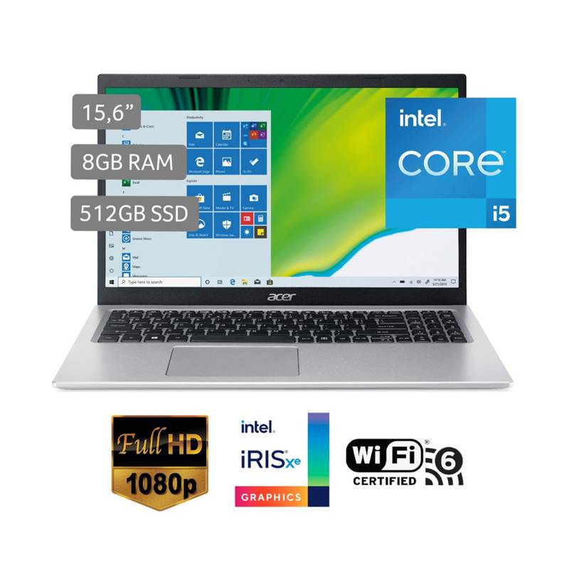 """ACER - Laptop Aspire 5 A515-56-567N 15.6"""" Core i5 1135G7 8GB 512GB"""