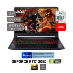 "ACER - AN515-55-57JM 15.6"" FHD IPS 144Hz  Ci5 10300H  8GB  256GB SSD 1TB HDD RTX3050 W10"