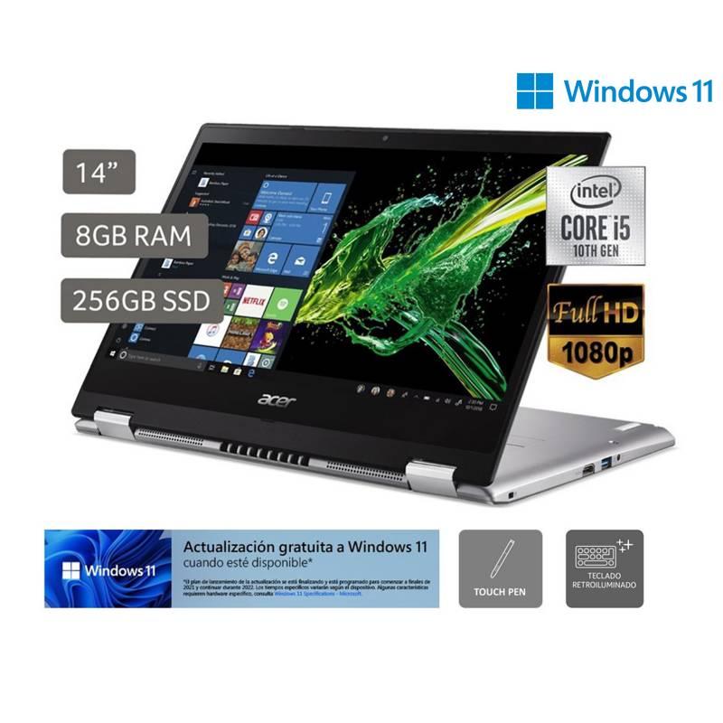 "ACER - Laptop 2 en 1  SPIN 3 SP314-54N-53BF 14"" FHD Core i5  1035G1 8GB 256GB  Teclado ingles, Windows Pro"