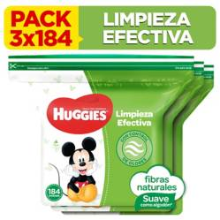 HUGGIES - Pack Toallitas Húmedas Limpieza Efectiva 3x184