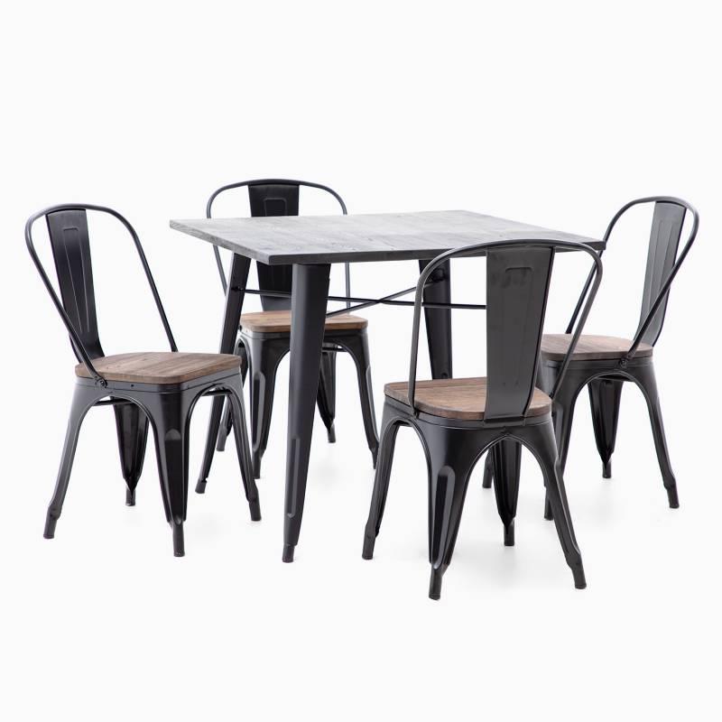 MICA - Juego de Comedor Alton negro 4 sillas