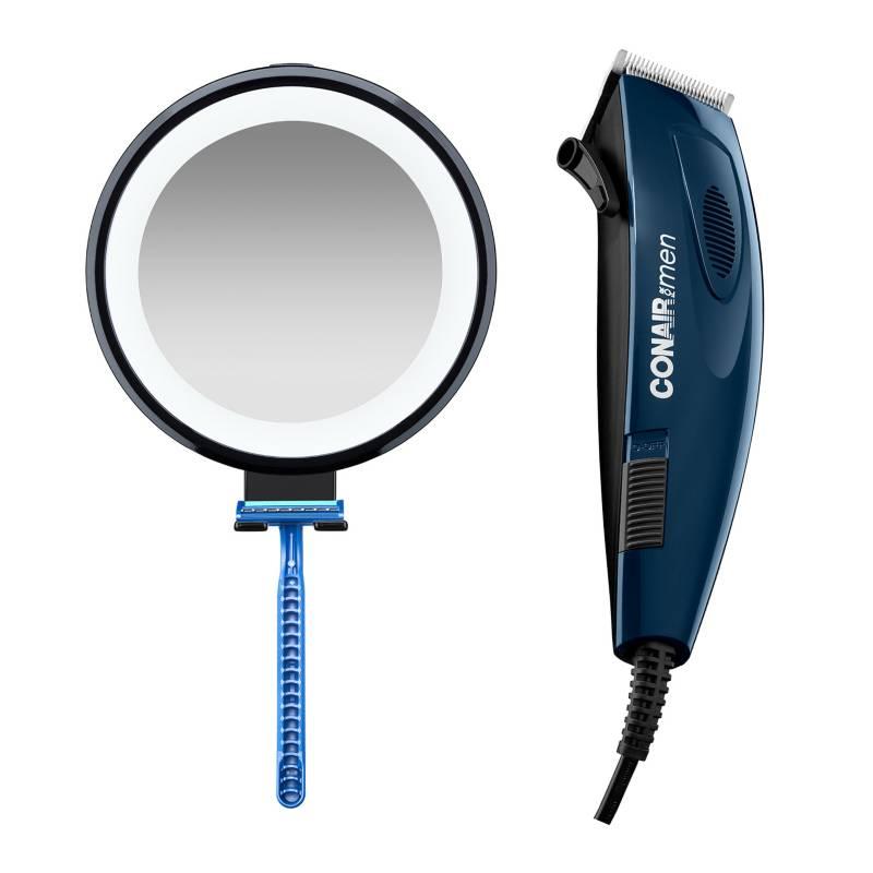 CONAIR - Combo: Espejo Para Hombres Antiempañante 3X C/Luz LED Negro + Cortadora de Cabello XL E695PE