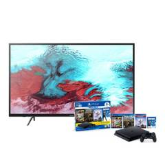 "SAMSUNG - Combo: Televisor 43"" FHD SMART TV UN43J5202AGXPE + PS4 HW 1TB MEGA PACK 6 BUNDLE"