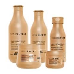 LOREAL PROFESSIONNEL - Pack Absolut Repair Gold (Shampoo 300ml + Acondicionador 200ml + Mascarilla 250ml + Shampoo 100ml GRATIS + Mascarilla 75ml GRATIS)