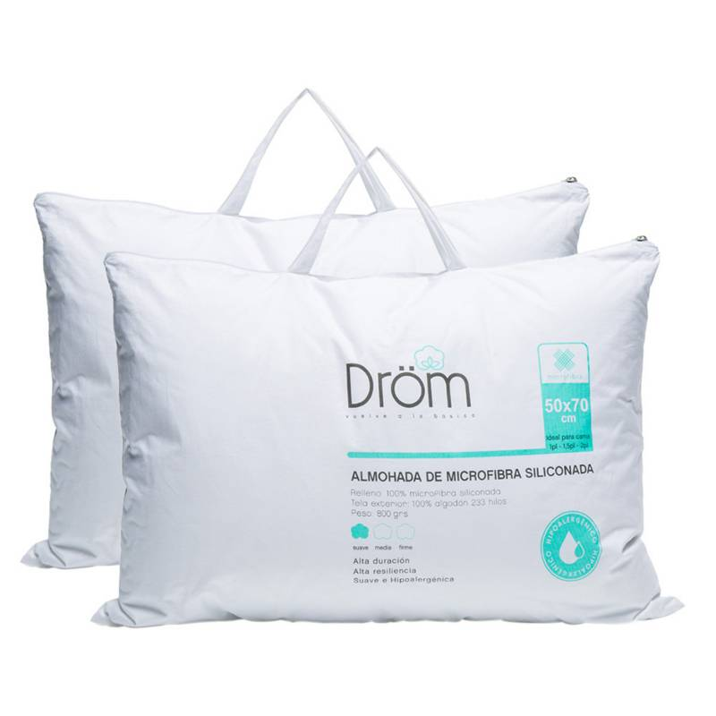 DROM - Pack x2 Almohada Microfibra Siliconada 50x70