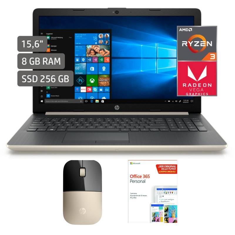 HP - HP Laptop 15-db1028la AMD + Mouse Dorado+Microsoft Programa Office 365