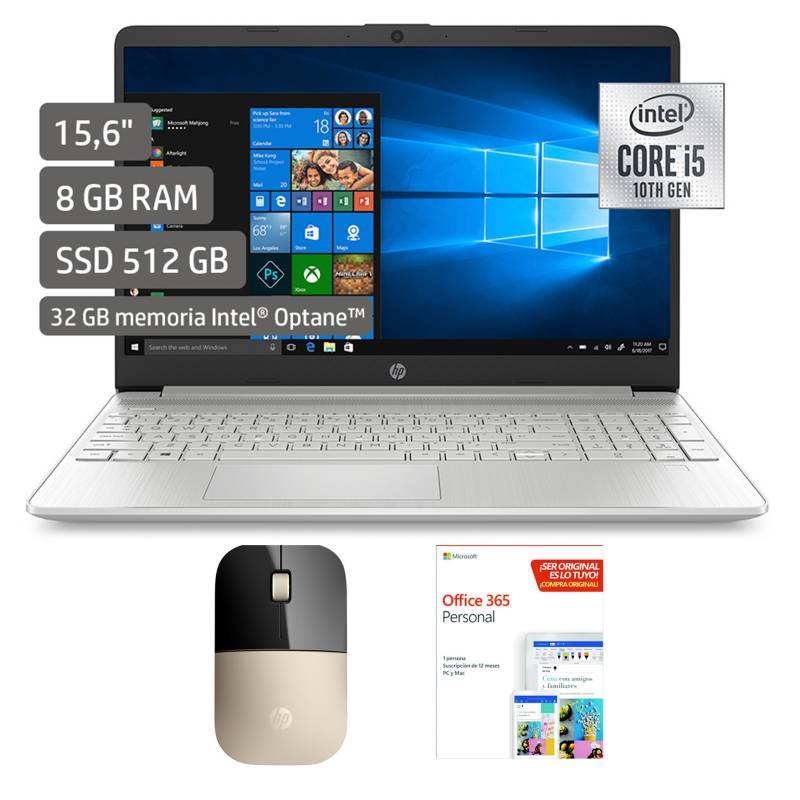 "HP - Laptop 15"" Core i5 10ma Gen 8GB + Mouse Dorado+Microsoft Programa Office 365"