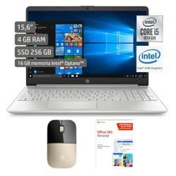 "HP - Laptop 15"" Core i5 10ma Gen 4GB RAM+Mouse Dorado+Microsoft Programa Office 365"