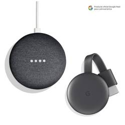GOOGLE - Google Speaker Home Mini Graphite + Google Chromecast 3 Charcoal Gray