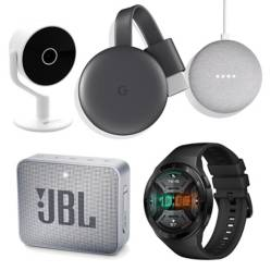 GOOGLE - Google Speaker Home Mini Slate+Google Chromecast 3 Charcoal Gray+Camara Ip Full HD Fija+JBL Speker Go2 Gray+Smartwatch Hector-B19S Black