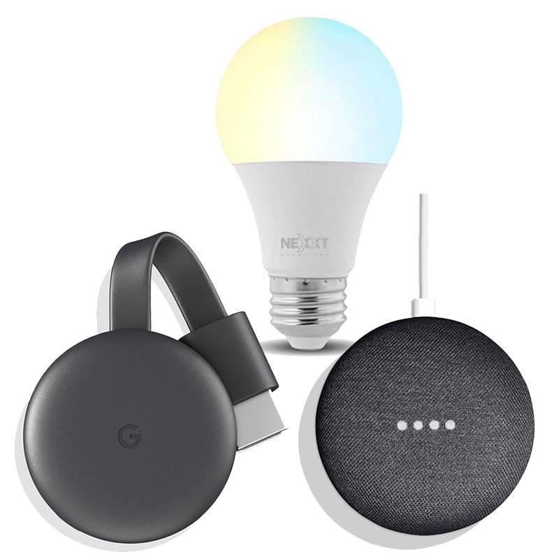 NEXXT - Smart Bulb Para Combo Google + Google Speaker Home Mini Graphite+Google Chromecast 3 Charcoal Gray