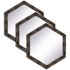 B DESING - Set X3 Espejo Hexagonal Negro 20 cm
