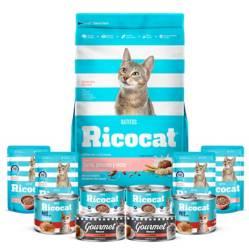 RICOCAT - Pack Ricocat Gatitos Carne,Pescado y Leche x 15 Kg