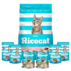 RICOCAT - Pack Ricocat Gatitos Carne,Pescado y Leche 9Kg