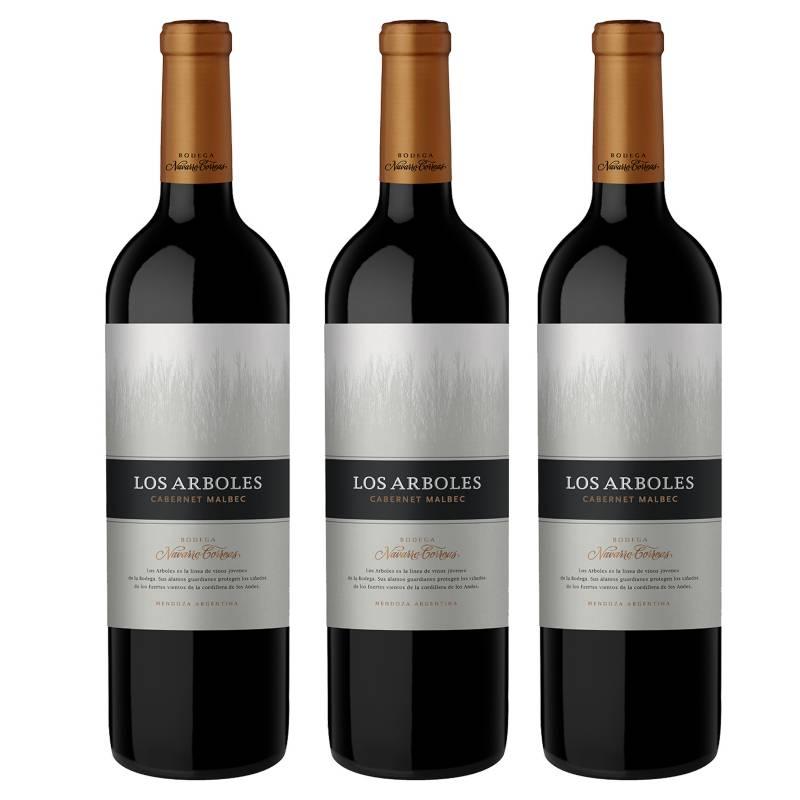 NAVARRO CORREAS - Pack x3 Vino Los Arboles Cabernet Malbec 750 ml