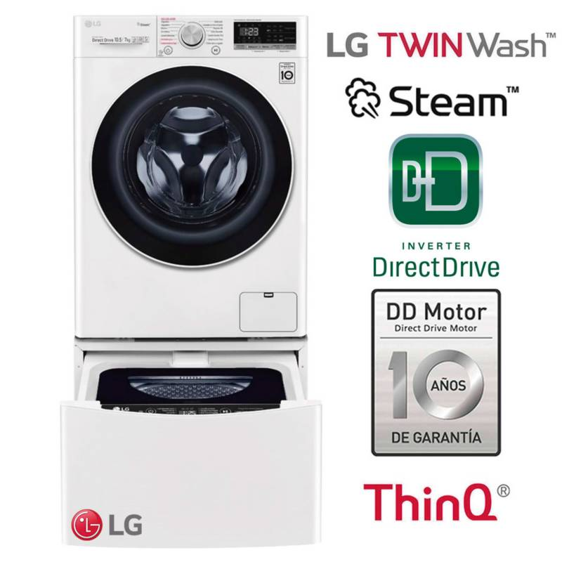 LG - Combo: Lavaseca LG WD10WVC4S6 10.5 Kg / 7 kg LG + Lavadora Twinwash 2 Kg WT2WM Blanca