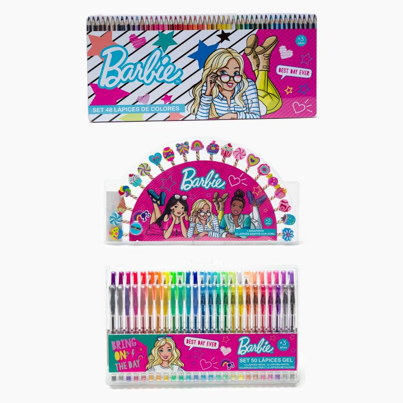BARBIE - Pack Escolar: 50 Lápices Gel+48 Colores +20 Lápices Borrador