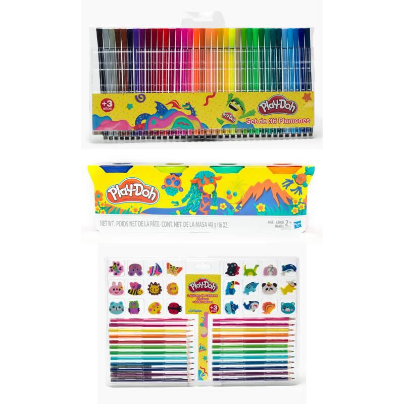 PLAY DOH - Pack Escolar: Play Doh PackX 4 +36 Plumones+ 24 ColoresY Borradores