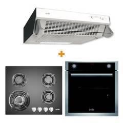 SOLE - Cocina Empotrable SOLCO034 4 Quemadores + Campana Extractora  TURE11GO  3 velocidades + Horno Eléctrico Premium SOLHO012