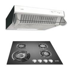 SOLE - Cocina Empotrable SOLCO034 4 Quemadores + Campana Extractora  TURE11GO  3 velocidades