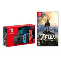 NINTENDO - Consola Nintendo Switch 1.1 Neon + Juego Switch Legend Of Zelda Botw Breath Of The Wild Nintendo
