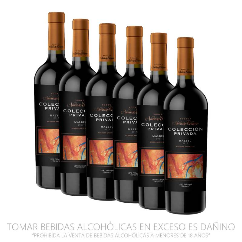 NAVARRO CORREAS - Pack x6 Vino Colección Privada Malbec 750ml