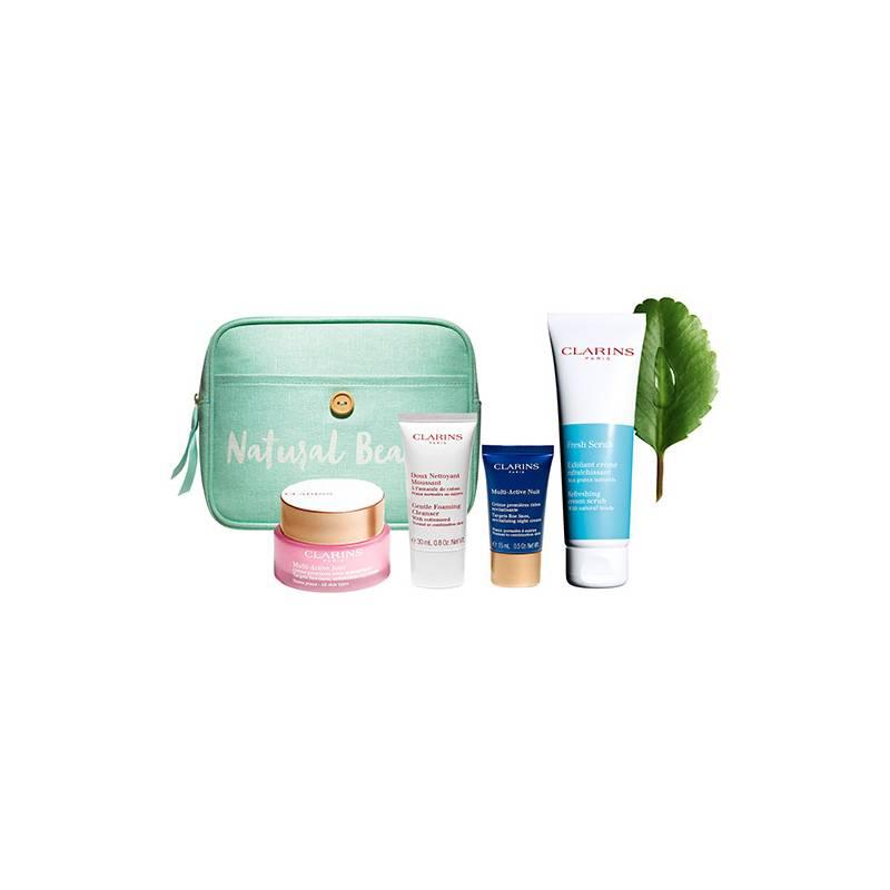 CLARINS  - Set Multi Active + Exfoliante Fresh Scrub para todo tipo de piel+ Neceser