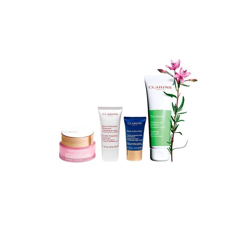 CLARINS  - Set Multi Active + Exfoliante Pure Scrub para piel Mixta + Neceser con miniaturas